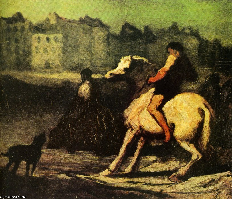 L'Abreuvoir, huile sur panneau The Feeding trough, oils on panel by Honoré Daumier (1808-1879, France)