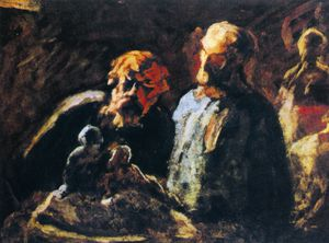 Honoré Daumier - L'Atelier du sculpteur, huile sur panneau The Workshop of the sculptor, oils on panel