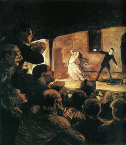 Honoré Daumier - Le Drame, huile sur toile The Drama, oils on fabric