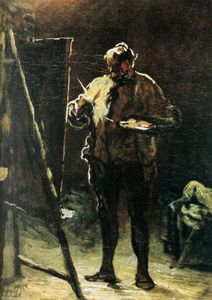 Honoré Daumier - Le Peintre devant son tableau, Huile sur panneau The Painter in front of his table, Oils on panel