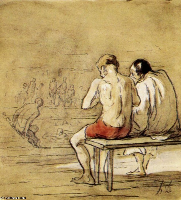 Les Baigneurs, fusain crayon noir lavis gris brun aquarelle Bathers, charcoal lead pencil brown gray washing watercolour by Honoré Daumier (1808-1879, France) | Oil Painting | WahooArt.com