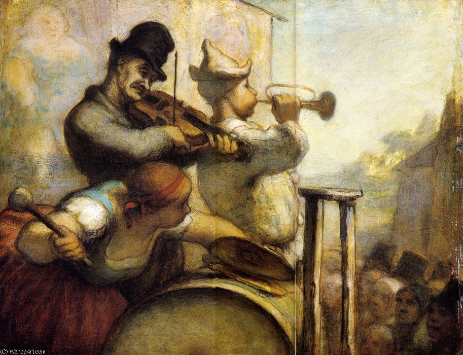 Parade de Saltimbanques, huile sur panneau Parades Travelling acrobats, oils on panel by Honoré Daumier (1808-1879, France) | Museum Quality Reproductions | WahooArt.com