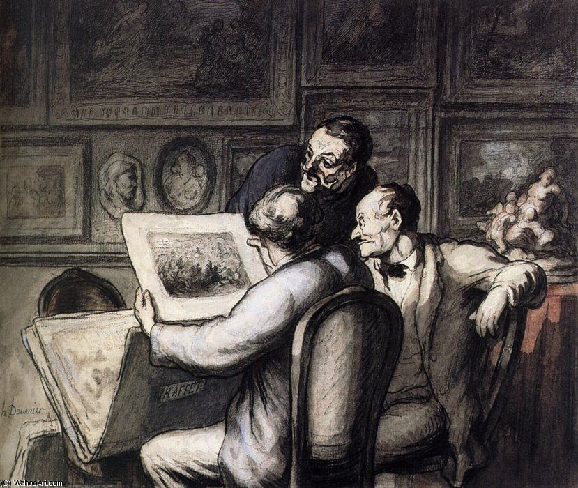Trois amateurs devant la Revue Nocturne de Raffet Three amateurs in front of the Night Review of Raffet by Honoré Daumier (1808-1879, France) | WahooArt.com