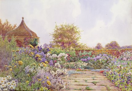 An English Country Garden by Ernest Arthur Rowe (1863-1922, United Kingdom)