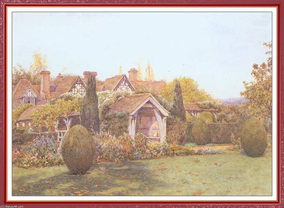 Greatt Angley Manor Surrey by Ernest Arthur Rowe (1863-1922, United Kingdom) | Oil Painting | WahooArt.com