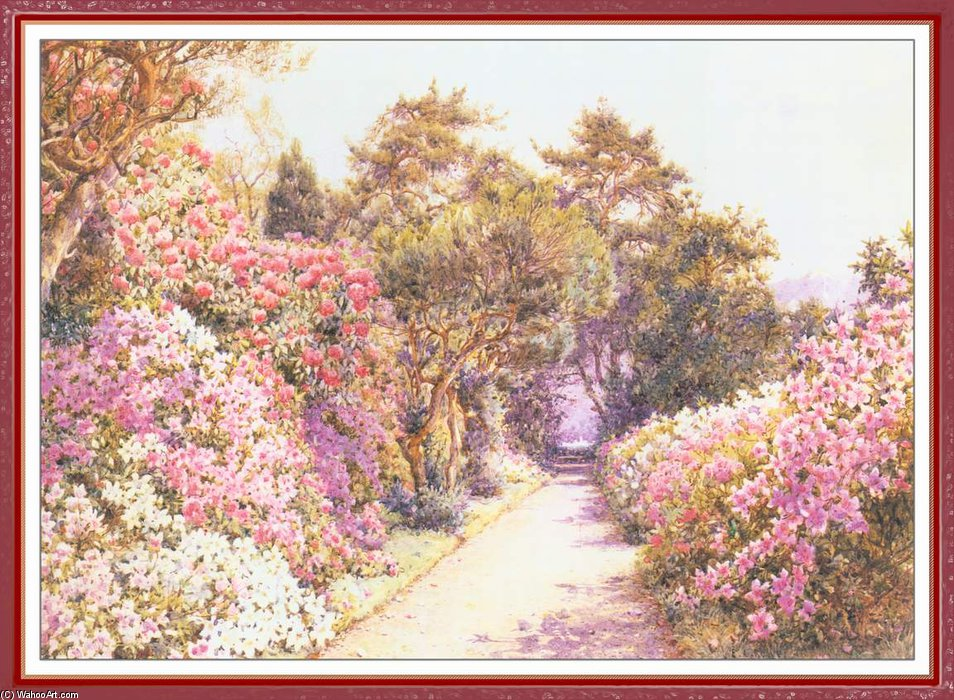 The Garden Path by Ernest Arthur Rowe (1863-1922, United Kingdom) | Famous Paintings Reproductions | WahooArt.com