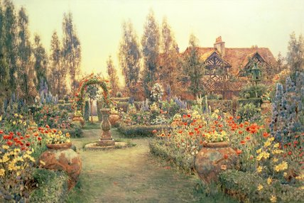 View Of A Country House And Garden by Ernest Arthur Rowe (1863-1922, United Kingdom)