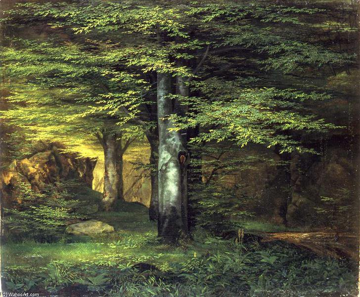 Waldinneres by Ernst Ferdinand Oehme (1797-1855, Germany)