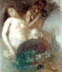 Eugène Anatole Carrière - Nymph And Satyr