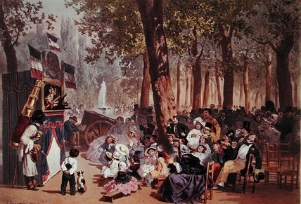 The Guignol Theatre On The Champs Elysees by Eugene Charles Francois Guerard (1821-1866, France)