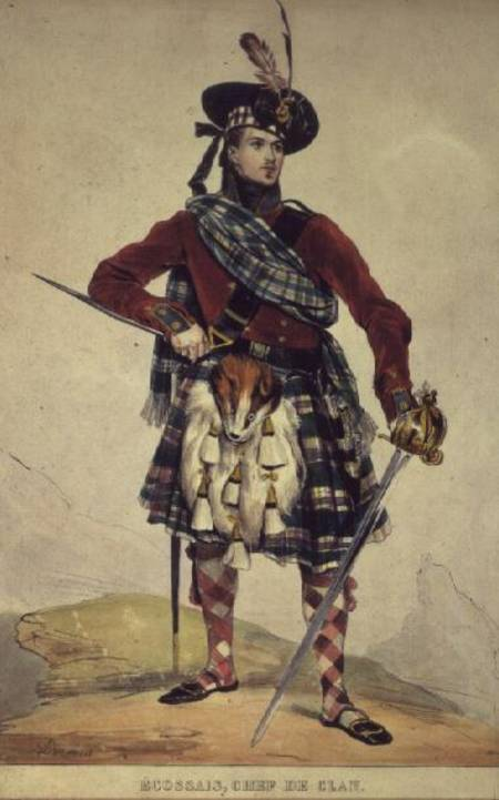 Chief Of A Scottish Clan by Eugene Francois Marie Joseph Deveria (1805-1865, France)