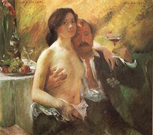 Lovis Corinth (Franz Heinrich Louis) - Self portrait with his Wife and a Glass of Champagne
