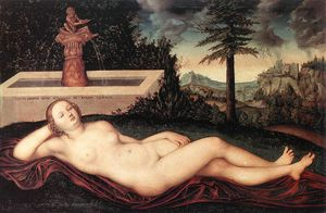 Lucas Cranach The Elder - reclining river nymph at the fountain