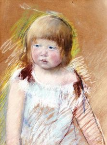Mary Stevenson Cassatt - Child with Bangs in a Blue Dress