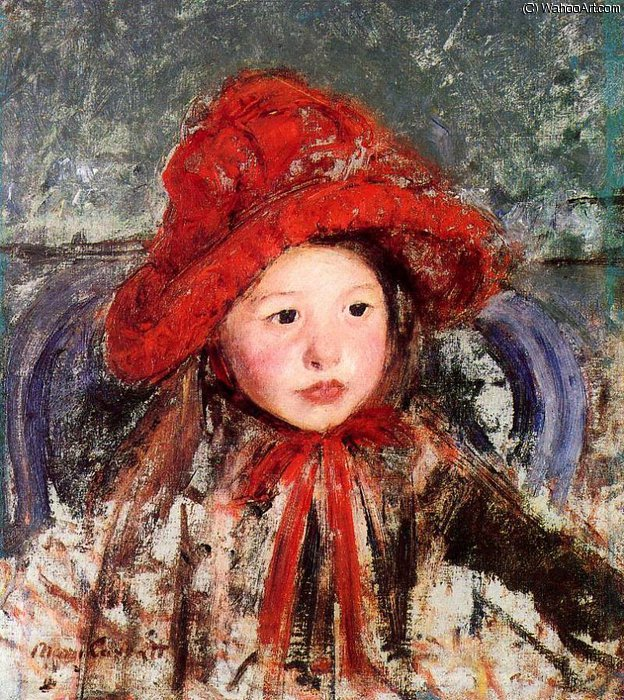 Little Girl in a Large Red Hat by Mary Stevenson Cassatt (1843-1926, United States)
