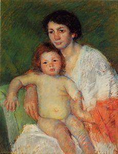 Mary Stevenson Cassatt - Nude Baby on Mother-s Lap Resting Her Arm on the Back of the Chair