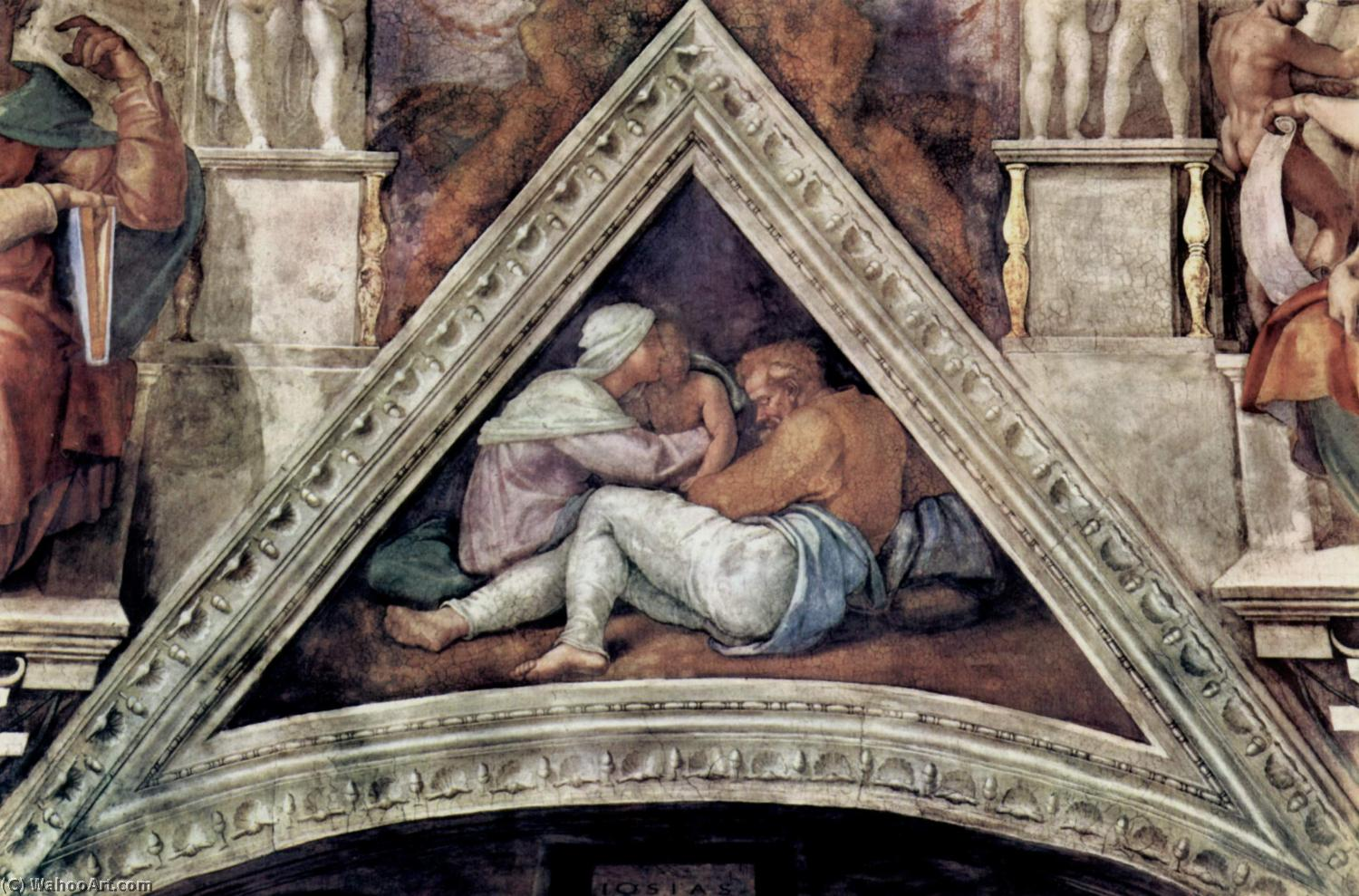 The Ancestors of Christ; Josias, Jechonias and Salathiel, 1510 by Michelangelo Buonarroti (1475-1564, Italy) | WahooArt.com