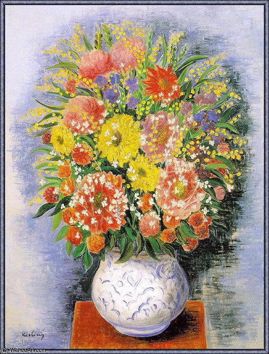 Bouquet De Fleurs Variees Et Mimosa By Moise Kisling 1891 1953