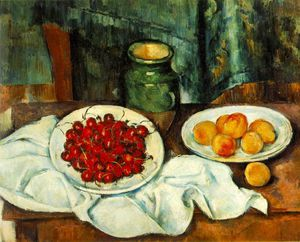 Paul Cezanne - still life with plate of cherries