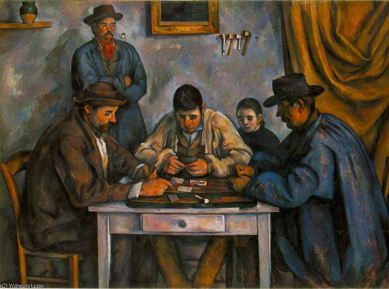the card players, 1892 by Paul Cezanne (1839-1906, France)