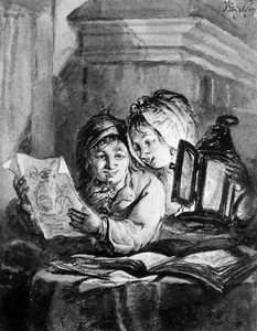 Abraham Van Strij - Boy and girl looking at drawings Sun