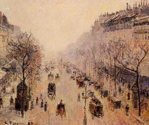 Camille Pissarro - Boulevard Montmartre - Morning, Sunlight and Mist.