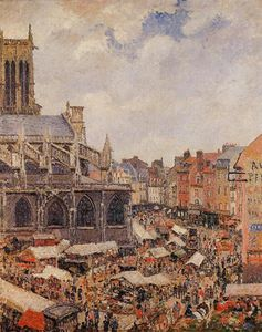 Camille Pissarro - The Market by the Church of Saint-Jacques, Dieppe.