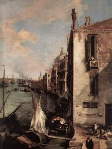 Giovanni Antonio Canal (Canaletto) - grand canal looking east from the campo san vio (detail)