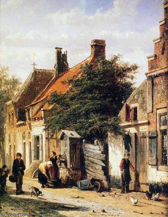 Cornelis Walstraatje in Harderwijk Sun by Cornelius Springer | Art Reproduction | WahooArt.com