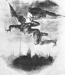 Eugène Delacroix - Mephistopheles Over Wittenberg (From Goethes Faust)