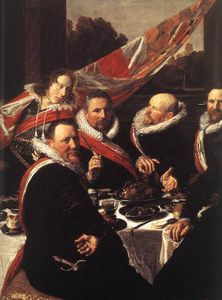 Frans Hals - Banquet of the Officers of the St George Civic Guard (detail) -