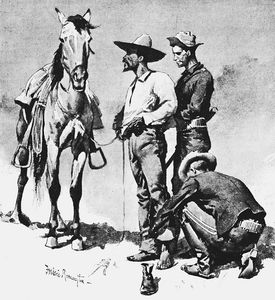 Frederic Remington - Third Cavalry Trooper, Searching a Suspected Revolutionist