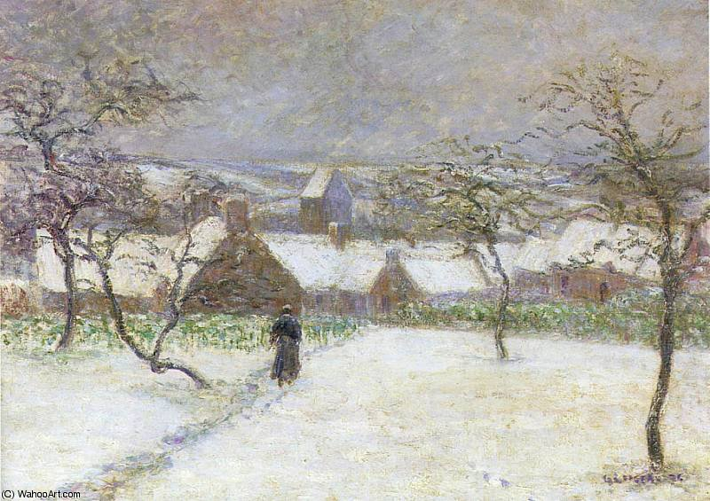 Path in the Snow by Gustave Loiseau (1865-1935, France) | Famous Paintings Reproductions | WahooArt.com