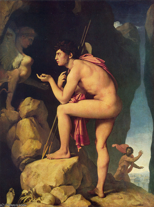 Oedipus and the Sphinx by Jean Auguste Dominique Ingres (1780-1867, France)