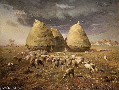 haystacks autumn by Jean-François Millet (1814-1875, France) | Painting Copy | WahooArt.com