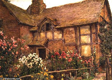 A Cottage Garden In Cholstry by Ernest Arthur Rowe (1863-1922, United Kingdom)