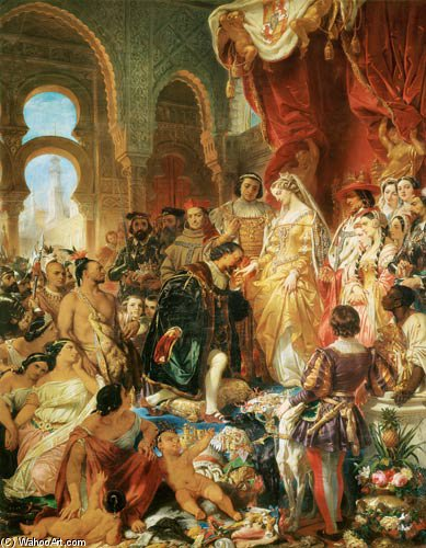 The Reception Of Christopher Columbus by Eugene Francois Marie Joseph Deveria (1805-1865, France)