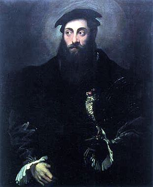 Portrait of a gentleman with a falcon by Niccolò Dell' Abbate (1512-1571, Italy)