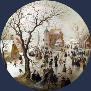 Hendrick Avercamp - A Winter Scene with Skaters near a Castle
