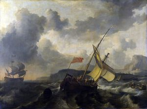 Ludolf Backhuysen - An English Vessel and a Man-of-war in a Rough Sea