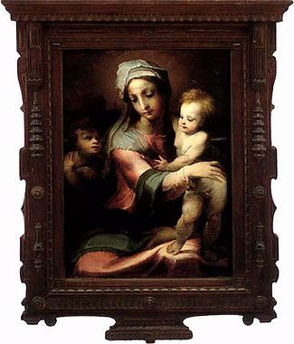 Madonna and Child with St John the Baptist by Domenico Di Pace Beccafumi (1486-1551, Italy) | Painting Copy | WahooArt.com