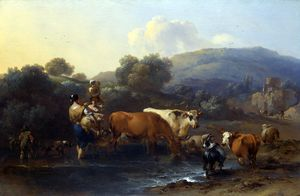 Nicolaes Berchem - Peasants with Cattle fording a Stream