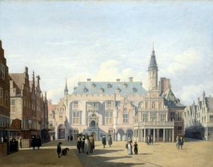 Gerrit Adriaenszoon Berckheyde - The Market Place and Town Hall, Haarlem