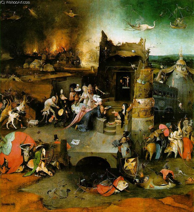 Temptation of St. Anthony, central panel by Hieronymus Bosch (1450-1516, Netherlands) | Art Reproduction | WahooArt.com