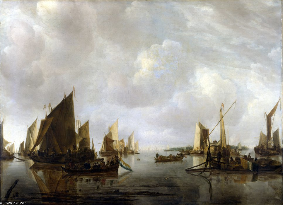 A River Scene with Dutch Vessels Becalmed by Jan Van De Cappelle (1624-1679, Netherlands) | Museum Quality Reproductions | WahooArt.com
