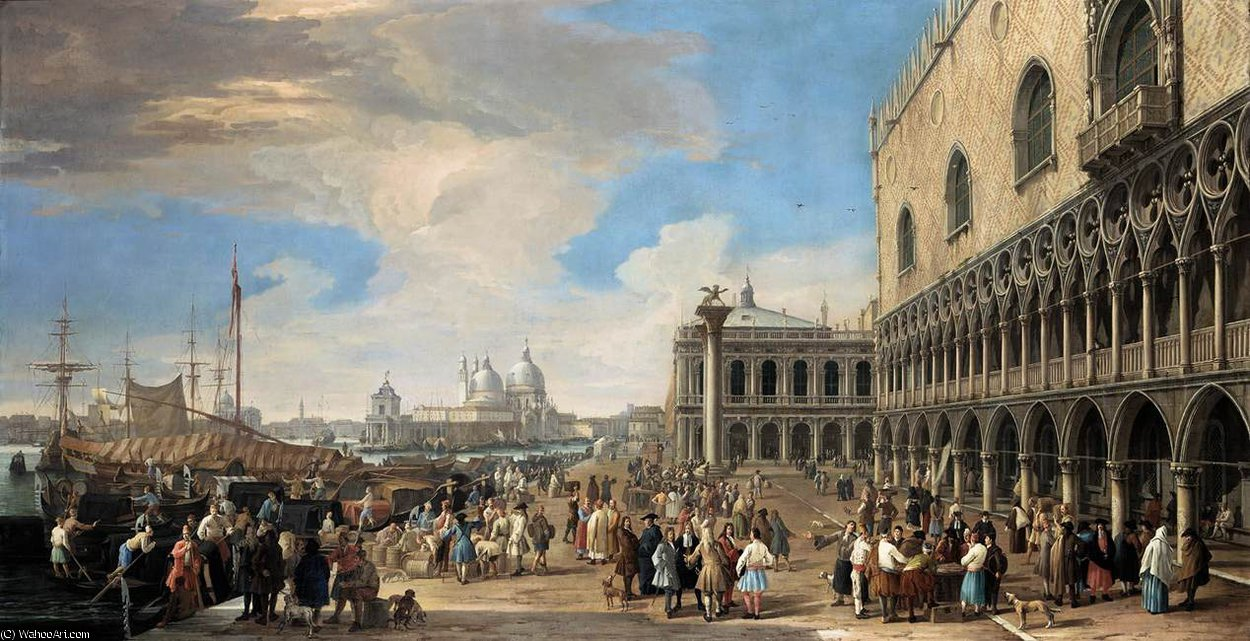A View of the Molo by Luca Carlevaris (1663-1730, Italy) | WahooArt.com