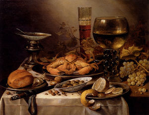 Pieter Claesz Soutman - Banquet Still Life with a Crab on a Silver Platter