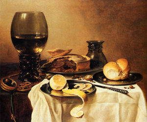Pieter Claesz Soutman - Breakfast Still Life With Roemer Meat Pie Lemon and Bread
