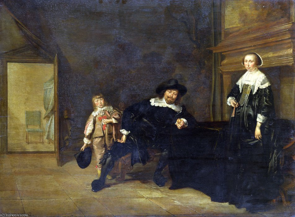 Portrait of a Man, a Woman and a Boy in a Room by Pieter Jacobs Codde (1599-1678) | Paintings Reproductions Pieter Jacobs Codde | WahooArt.com