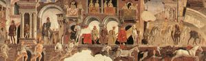 Order Museum Quality Reproductions : Schifanoia - April and May - Allegory of April (detail) by Francesco Del Cossa (1436-1477, Italy) | WahooArt.com